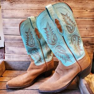 1883 Lucchese Turquoise & Camel rough out suede